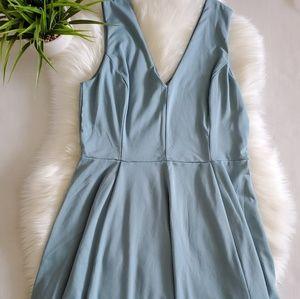 H&M Skater Dress Blue Midi Sleevless Size L